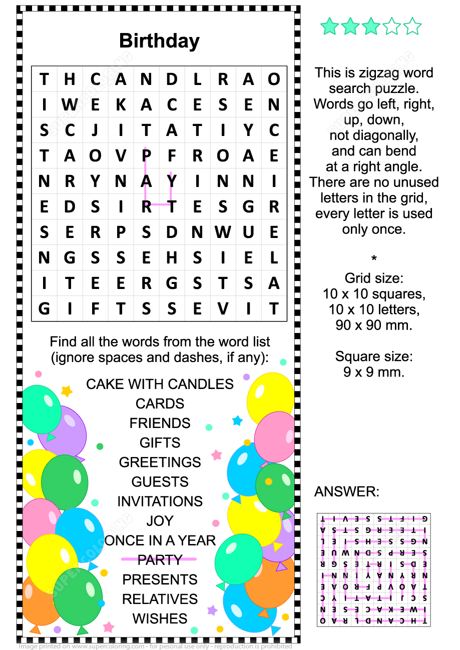 Birthday Zigzag Word Search Puzzle | Free Printable Puzzle Games - Printable Birthday Puzzles