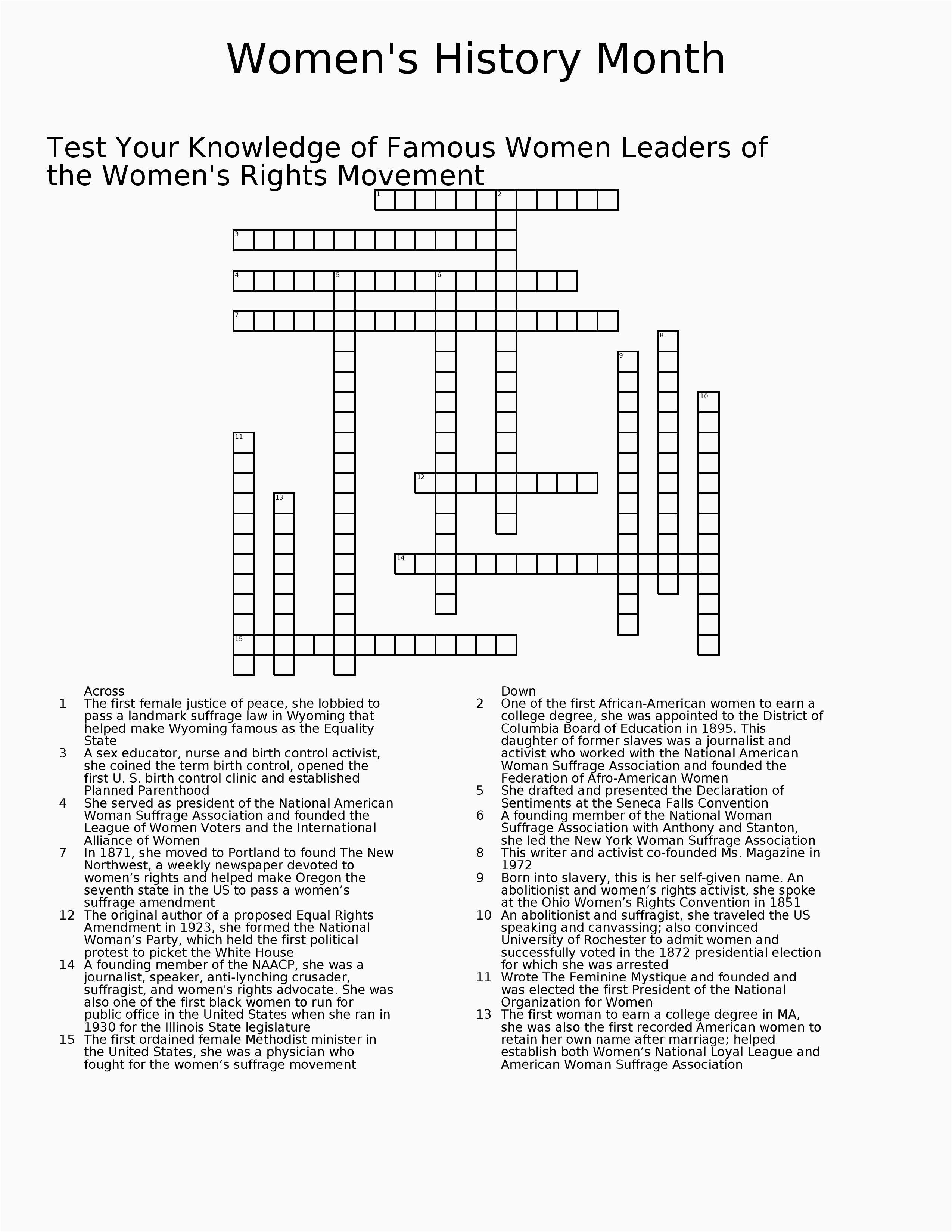 Black History Crossword Puzzle Printable – Open-Source-Design - History Crossword Puzzles Printable
