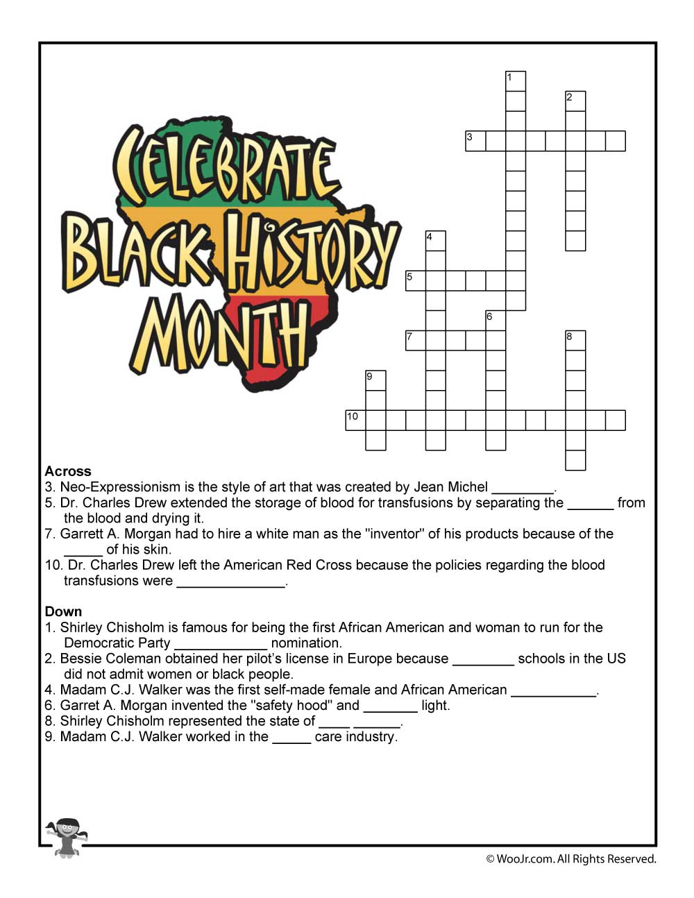 Black History Month Crossword Puzzle Worksheet | Woo! Jr. Kids - Printable History Puzzles