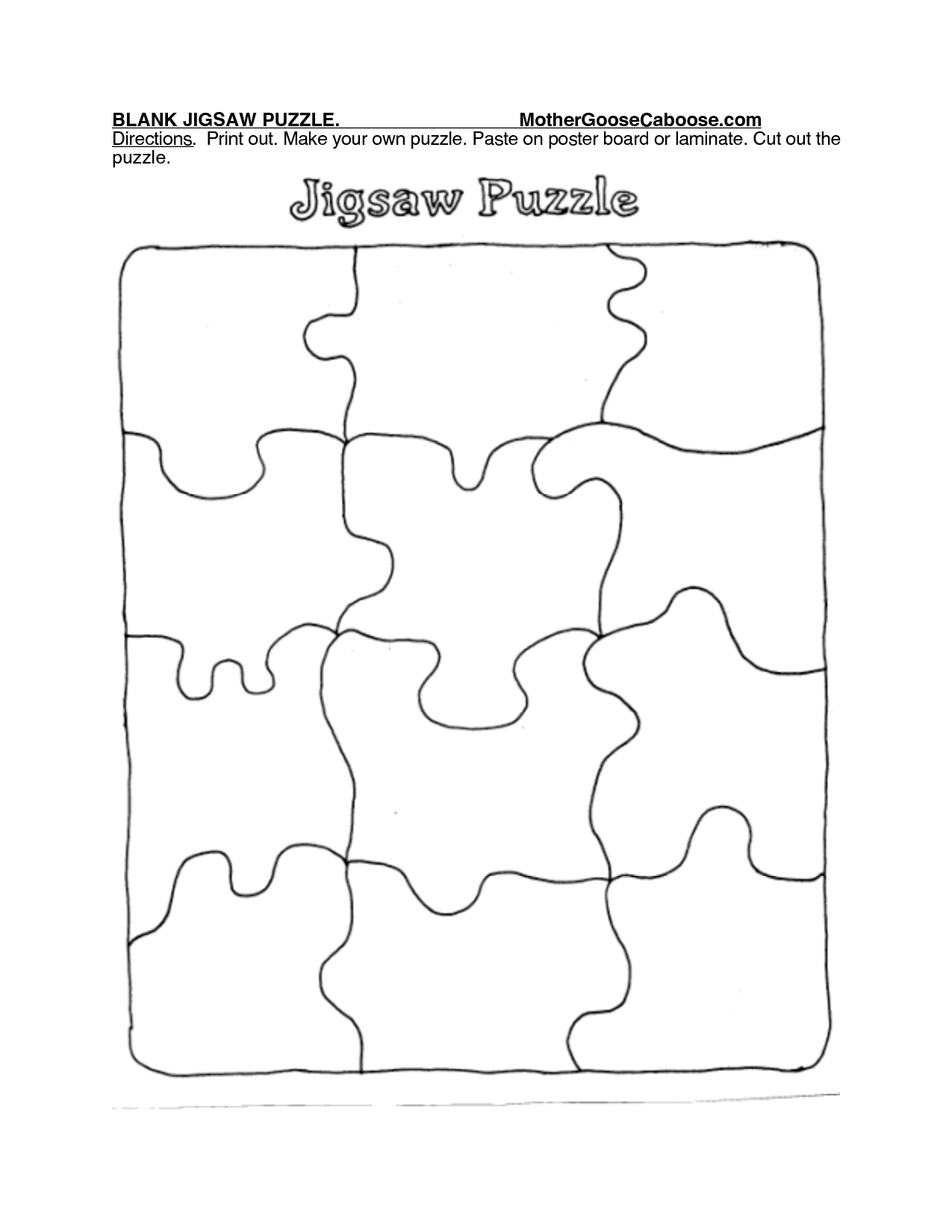 Blank Jigsaw Puzzle. Mothergoosecaboose Directions. Print Out - Print Your Puzzle