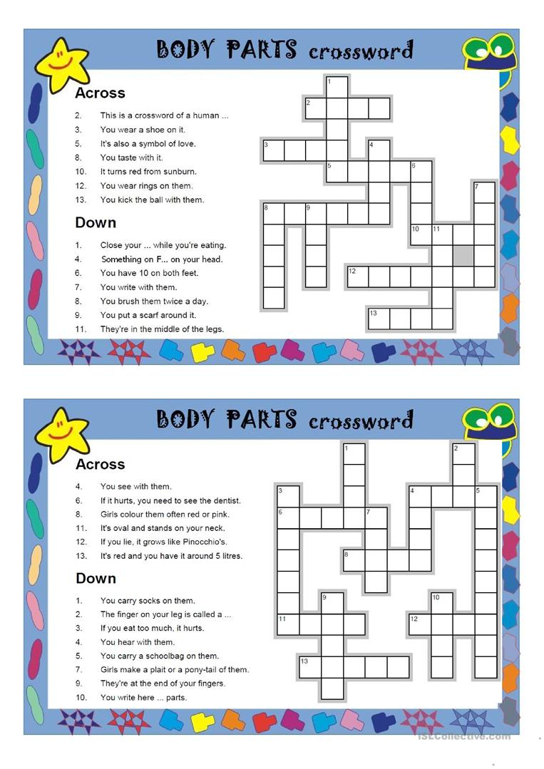 Body Parts Crosswords Worksheet - Free Esl Printable Worksheets Made - Free Printable Crossword Puzzles Body Parts