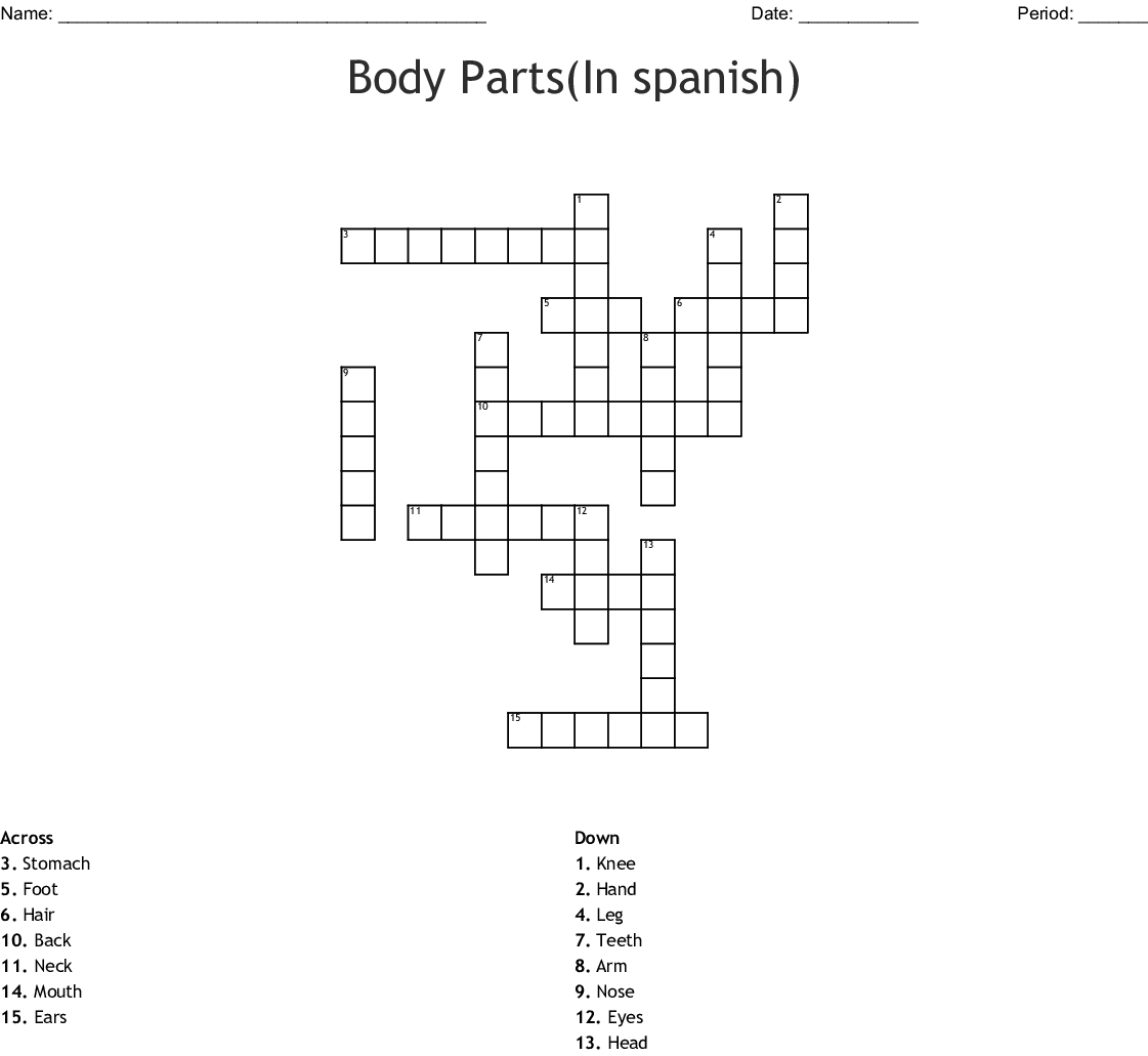 Body Parts(In Spanish) Crossword - Wordmint - Free Printable Crossword Puzzles Body Parts