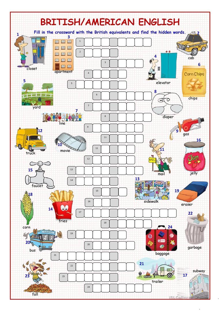 British/american English Crossword Puzzle Worksheet - Free Esl - Worksheet English Puzzle