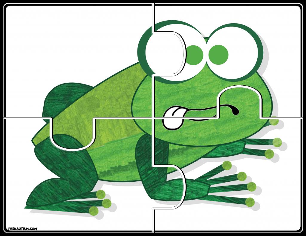 Brown Bear Puzzles - Prekautism - Printable Frog Puzzle