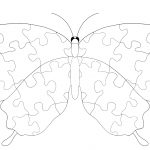 Butterfly With Jigsaw Puzzle Pattern Coloring Page | Free Printable   Printable Puzzle Coloring Pages