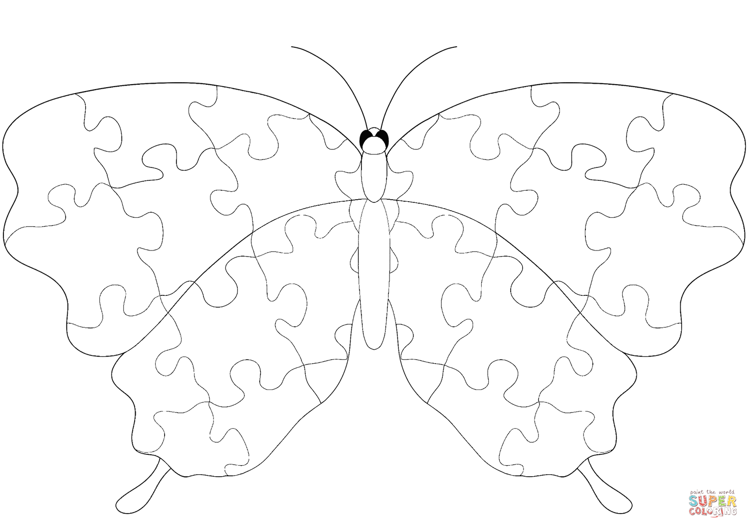 Butterfly With Jigsaw Puzzle Pattern Coloring Page | Free Printable - Printable Puzzle Coloring Pages