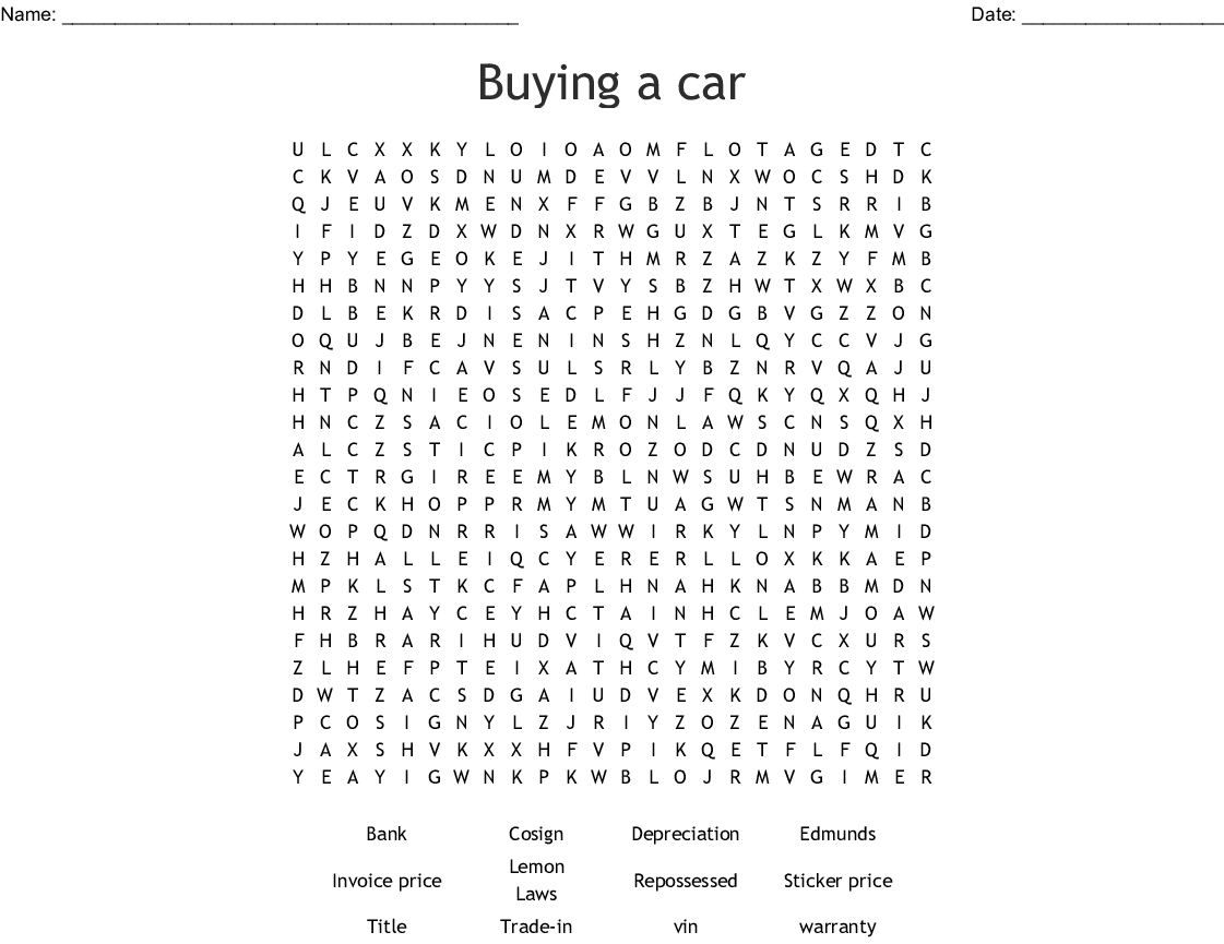 Buying A Car Word Search - Wordmint - Car Crossword Puzzles Printable