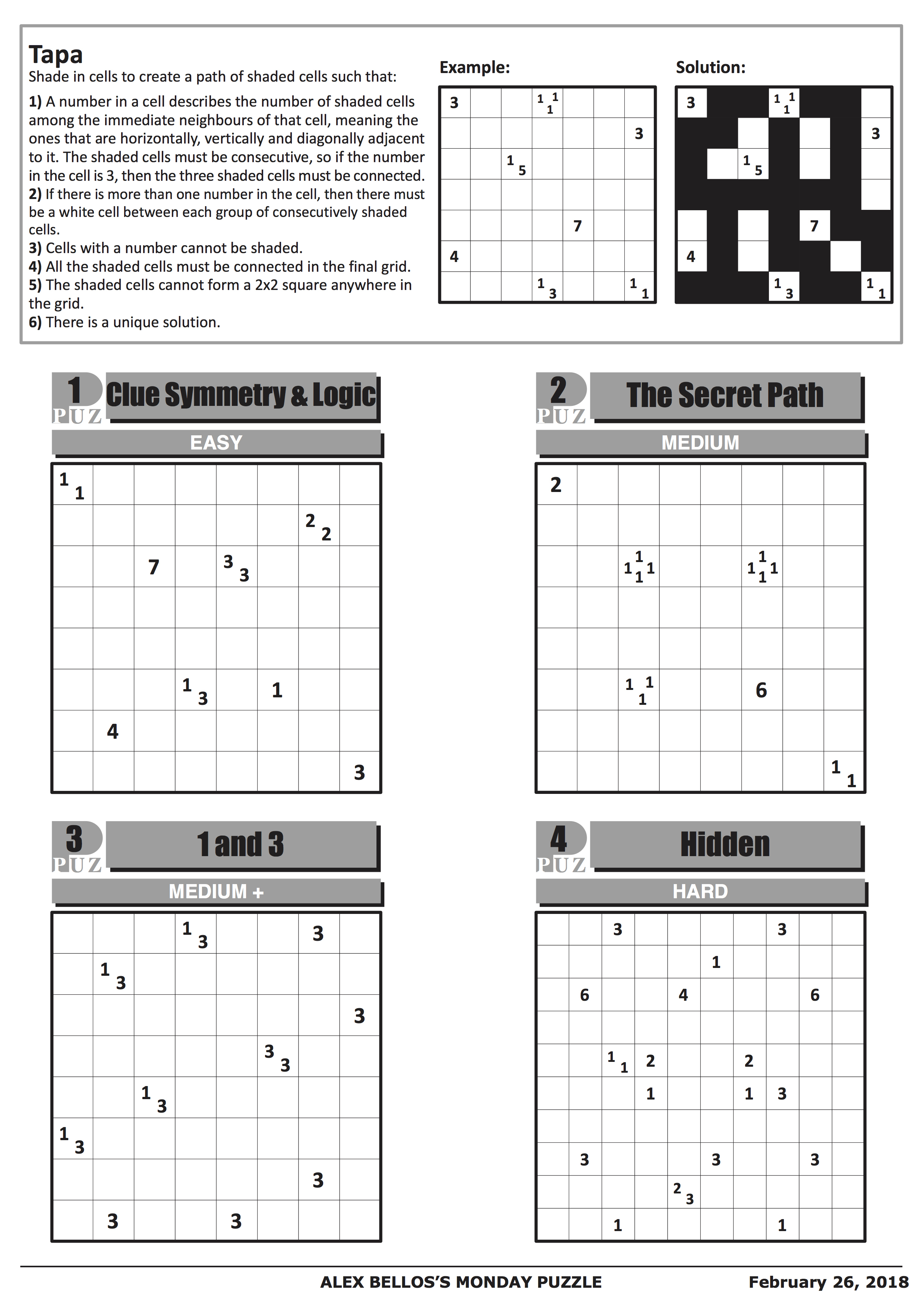 Can You Solve It? Tapa, The Puzzle Of Champions | Science | The Guardian - Printable Minesweeper Puzzles