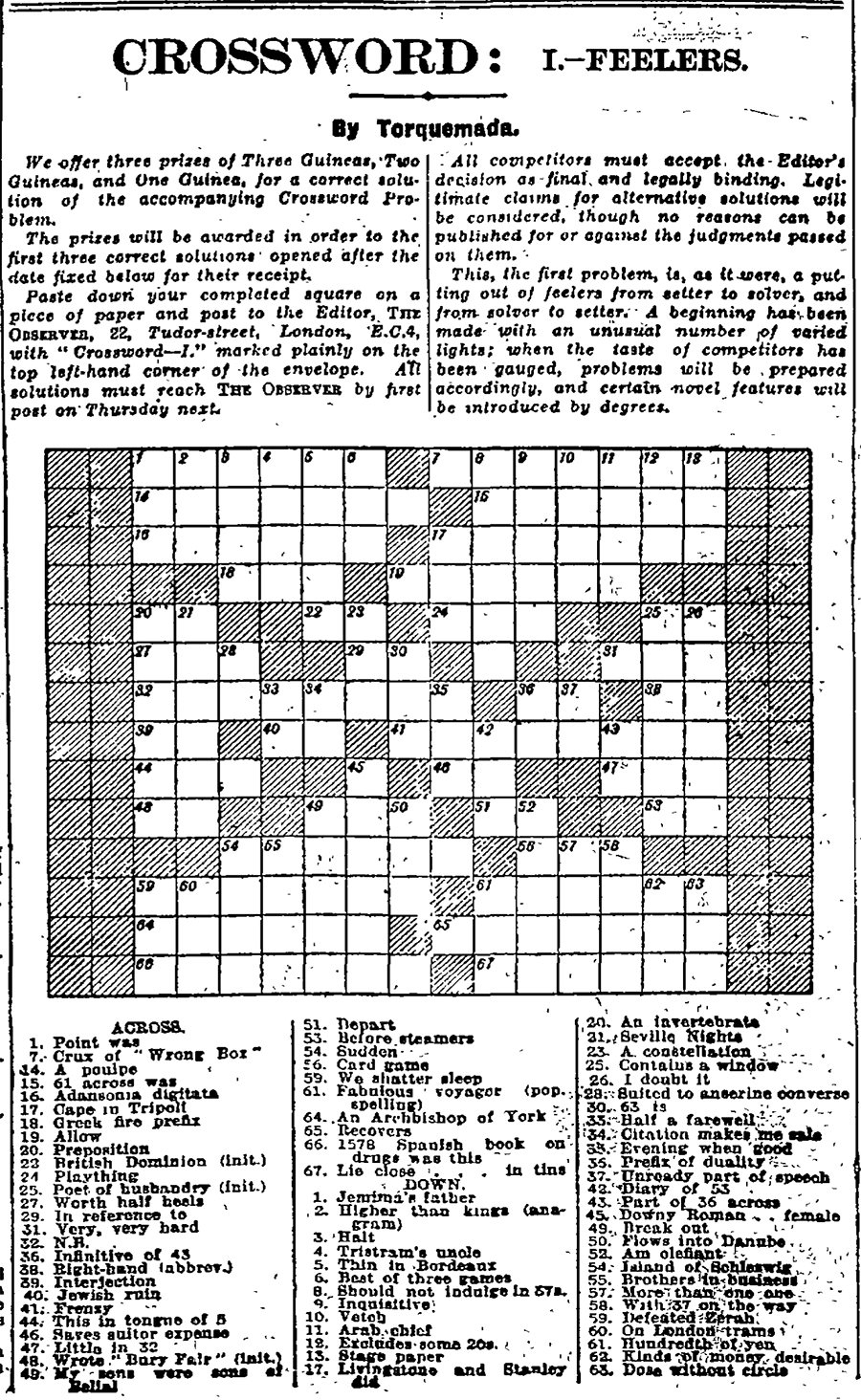 Can You Solve The First Guardian Crossword? Archive, 5 January 1929 - Printable Crossword Guardian