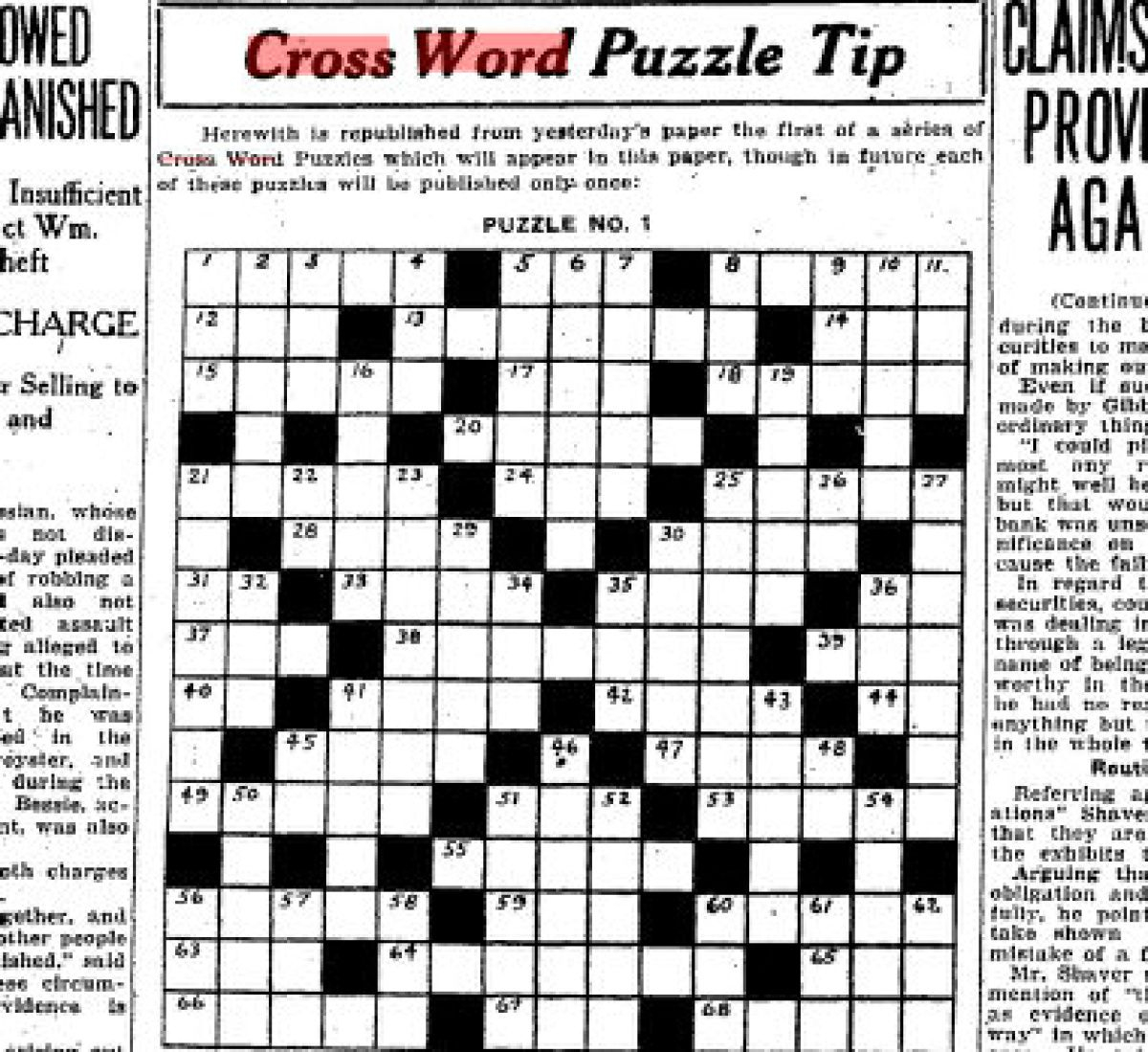 Can You Solve The Star's First Ever Crossword Puzzle From 1924 - Printable Crossword Metro