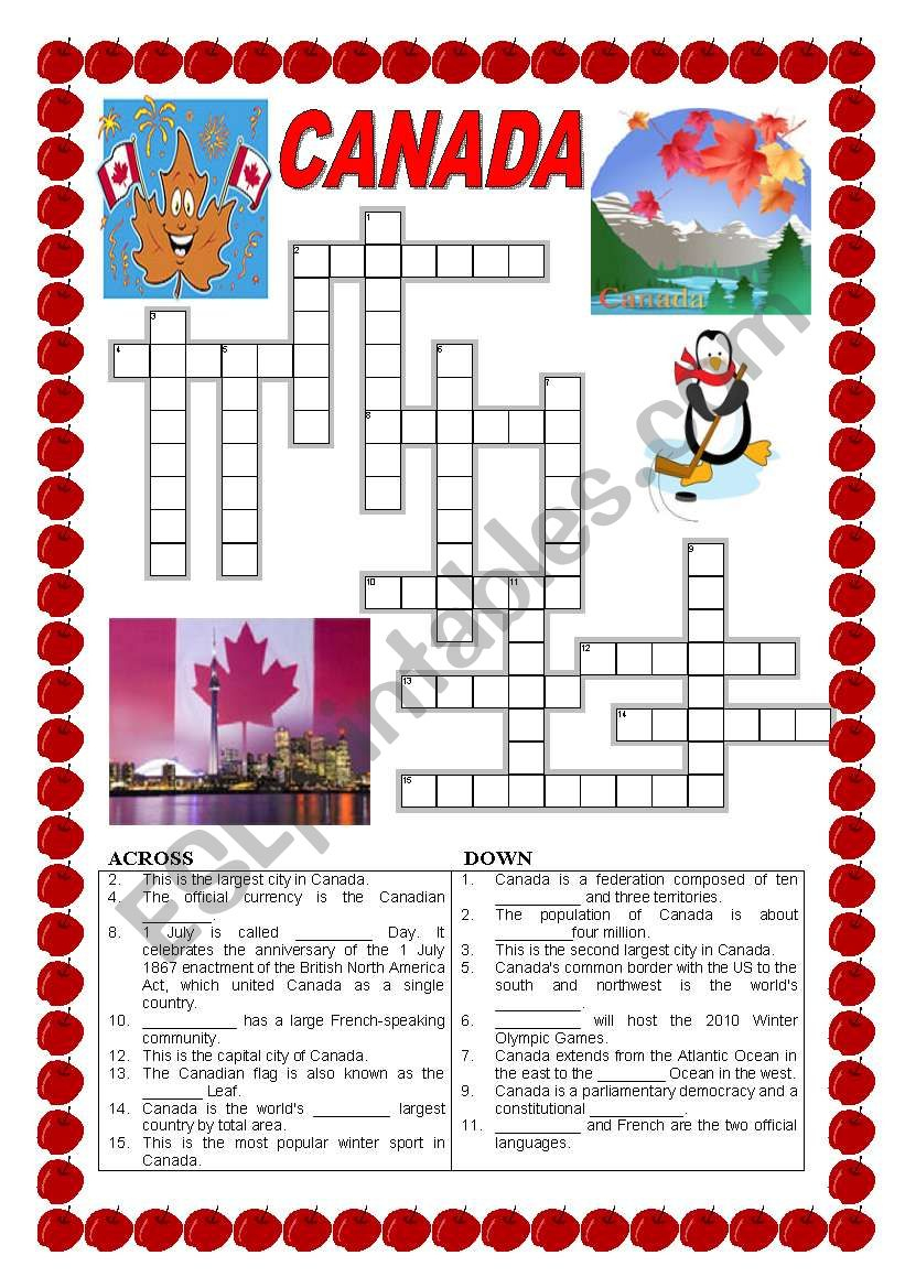 Canada - Crossword - Esl Worksheetildibildi - Printable Canadian Crossword