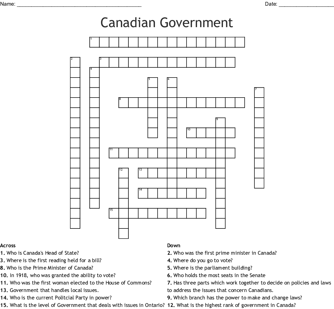 Canadian Government Crossword - Wordmint - Printable Canadian Crossword