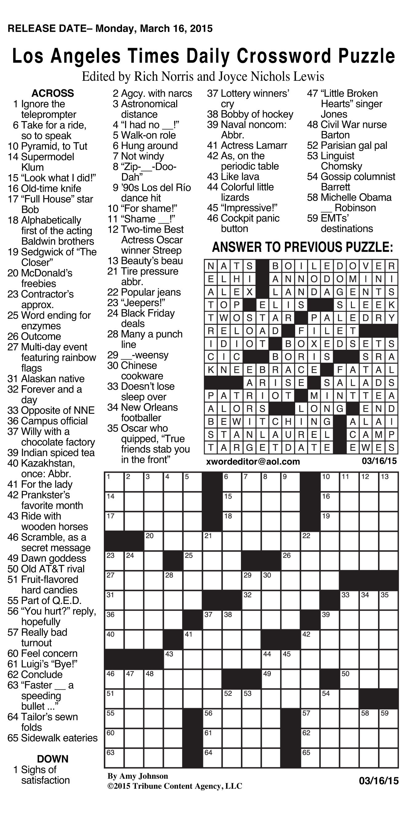 Canonprintermx410: 26 Fresh Free La Times Crossword - La Times Printable Crossword Puzzles 2017