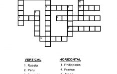 Capital Cities Quiz: Fill In The Country's Capital In The Crossword   Printable Vocabulary Quiz Crossword Puzzle