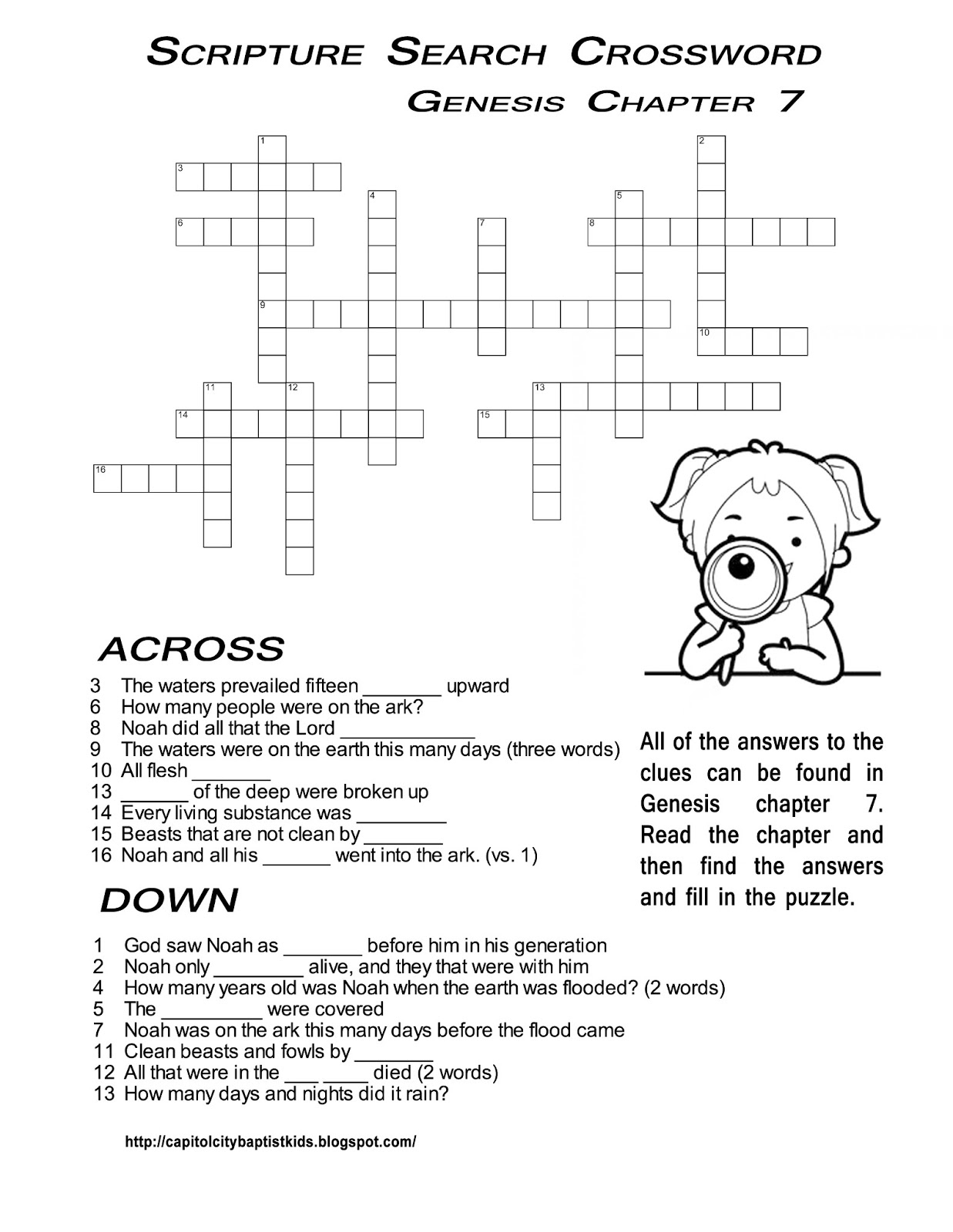Ccbc Kids Corner: Scripture Search Crossword #2 - Printable Crossword #2