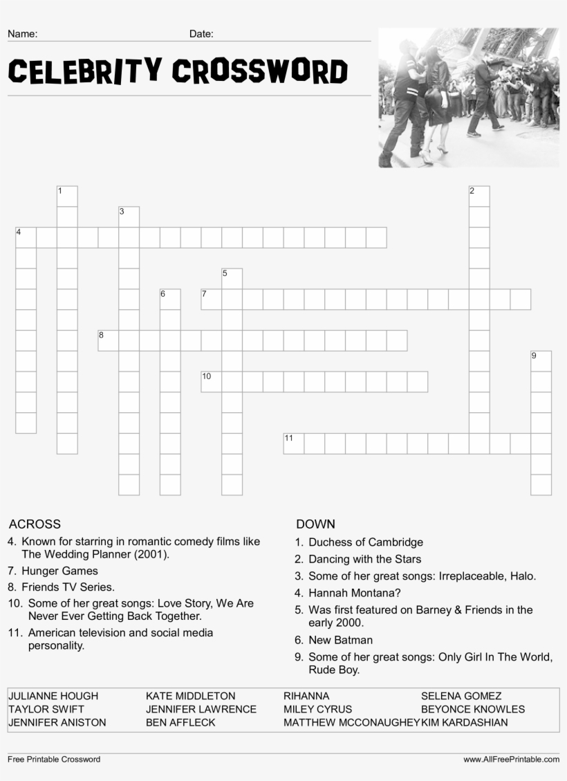 Celebrity Crossword Puzzle Main Image Download Template - Printable - Printable Crossword Celebrity
