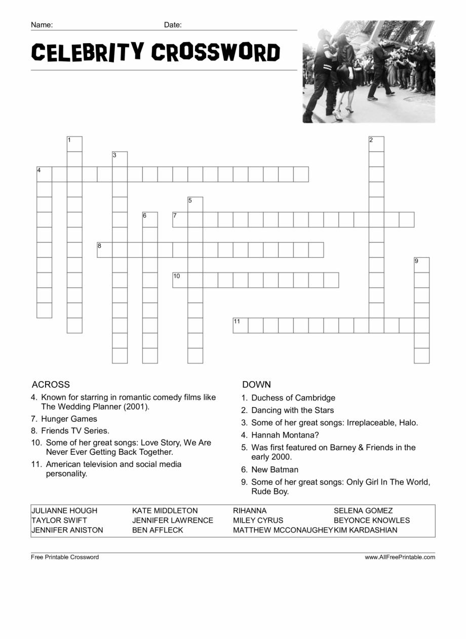 Celebrity Crossword Puzzle Main Image Download Template - Word - Printable Crossword Celebrity