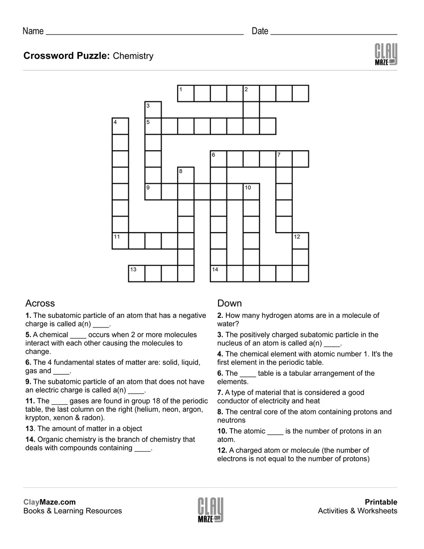 Chemistry Themed Crossword Puzzle   Free Printable Children's - Free - Printable Crossword Puzzles About Books