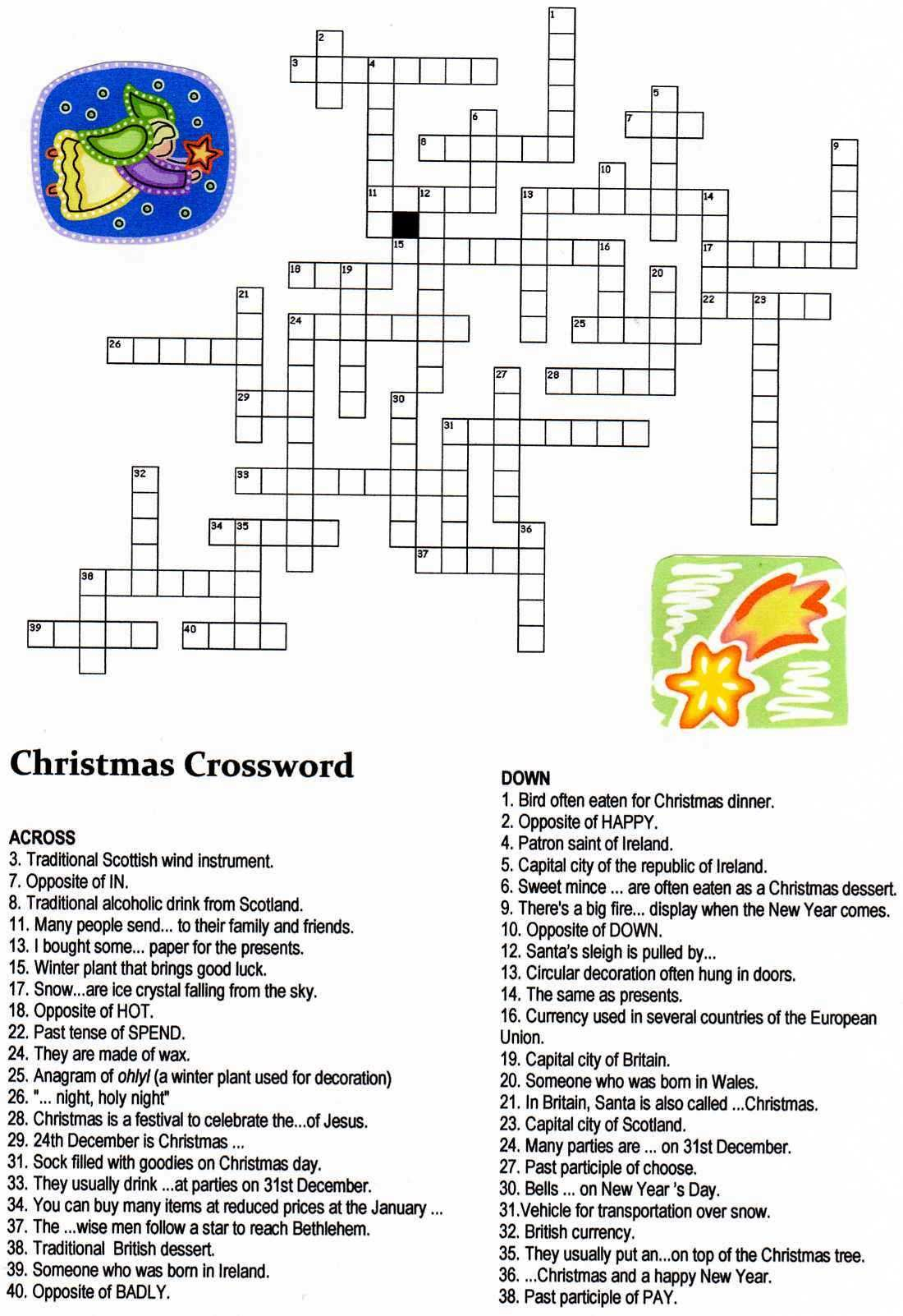 Christmas Angel Crossword Puzzle | Christmas | Christmas Crossword - Printable Hanukkah Crossword Puzzles