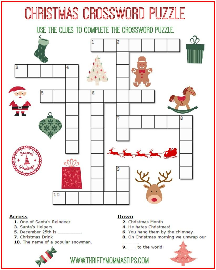 Christmas Crossword Puzzle Printable - Thrifty Momma's Tips | Free - First Grade Crossword Puzzles Printable