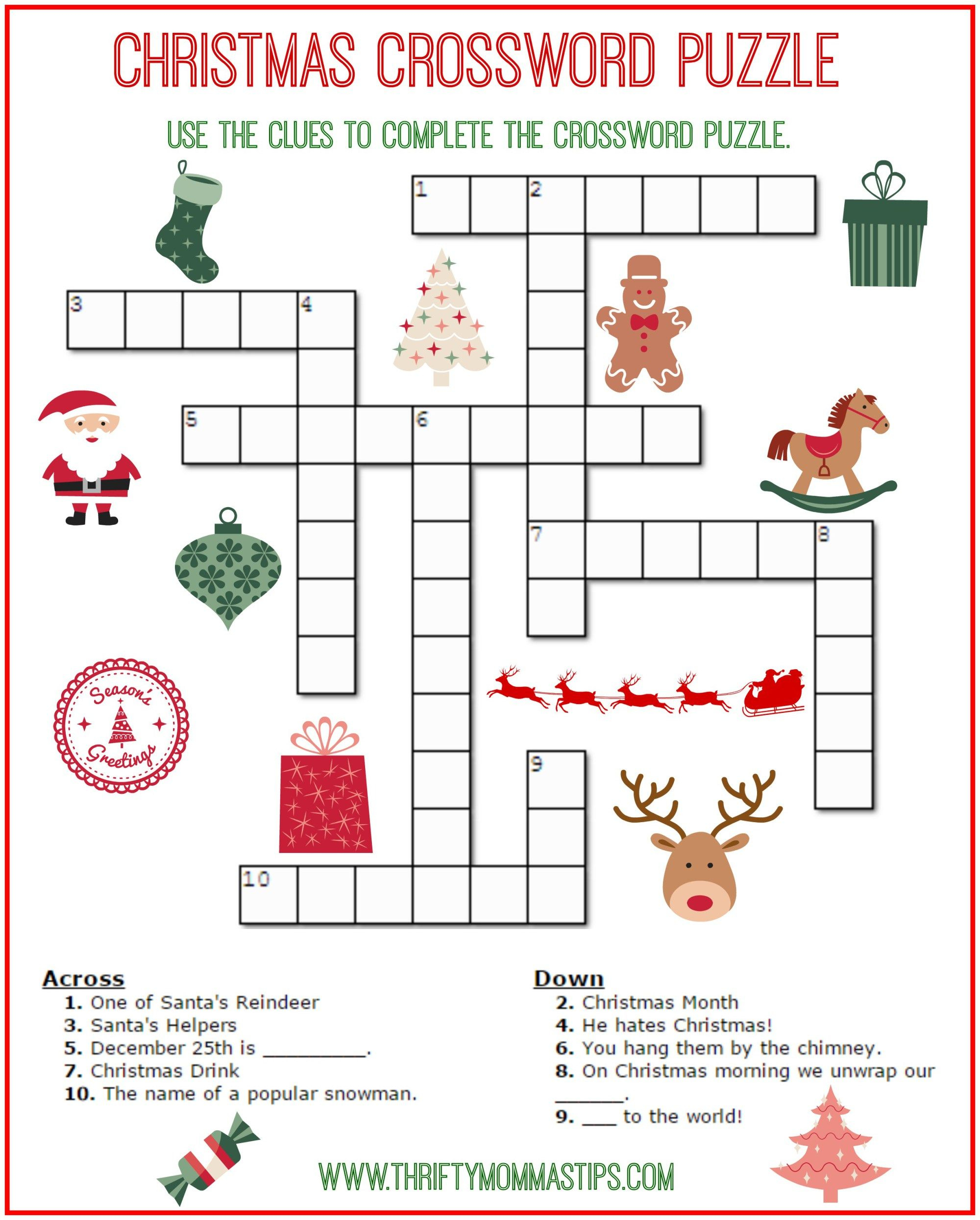 Christmas Crossword Puzzle Printable - Thrifty Momma's Tips - Printable Christmas Logic Puzzle