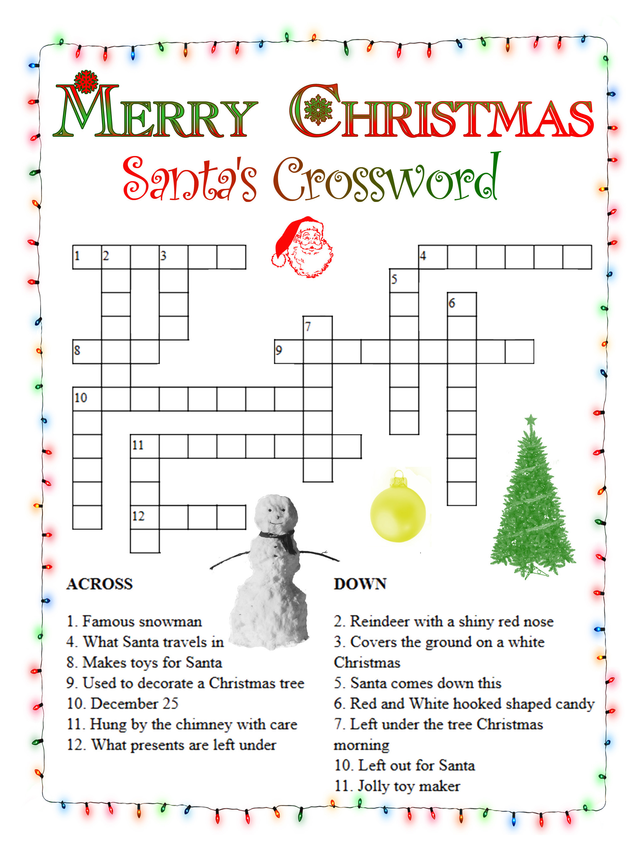 Christmas Crossword Puzzles - Best Coloring Pages For Kids - Printable Crossword Christmas