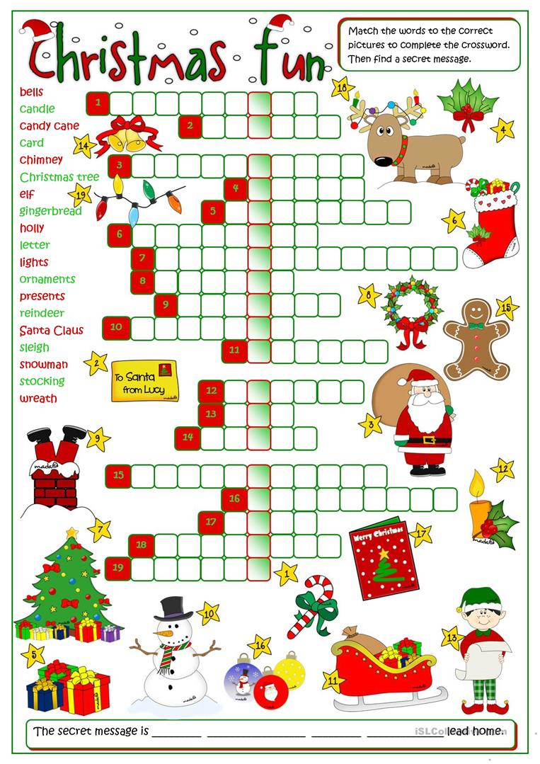 Christmas Fun - Crossword Worksheet - Free Esl Printable Worksheets - Free Printable Xmas Crossword
