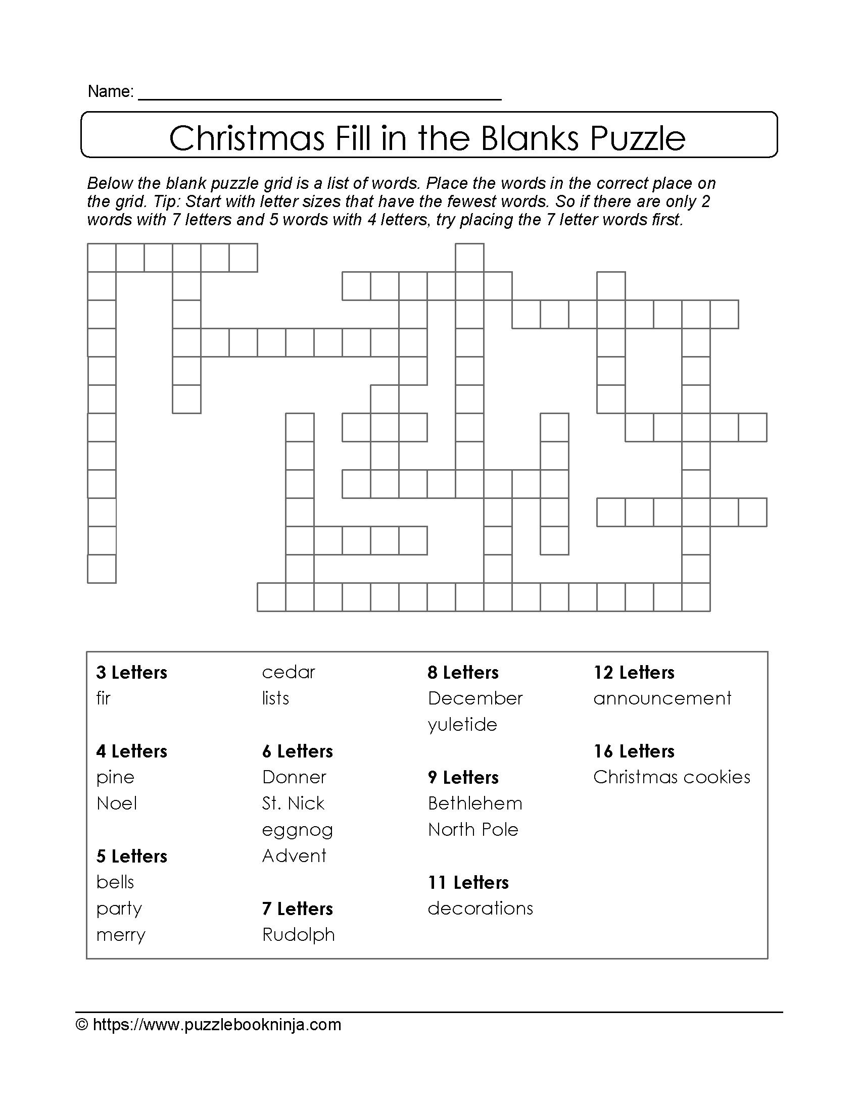 Christmas Printable Puzzle. Free Fill In The Blanks. | Christmas - Printable Blank Crossword Puzzles
