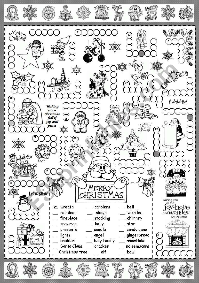 Christmas Puzzle - Esl Worksheetsilvanija - Printable Puzzle Pages