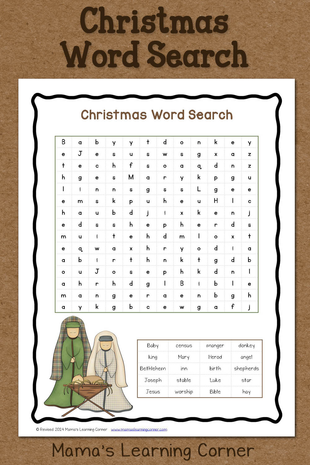 Christmas Word Search: Free Printable - Mamas Learning Corner - Printable Bible Puzzles For Preschoolers
