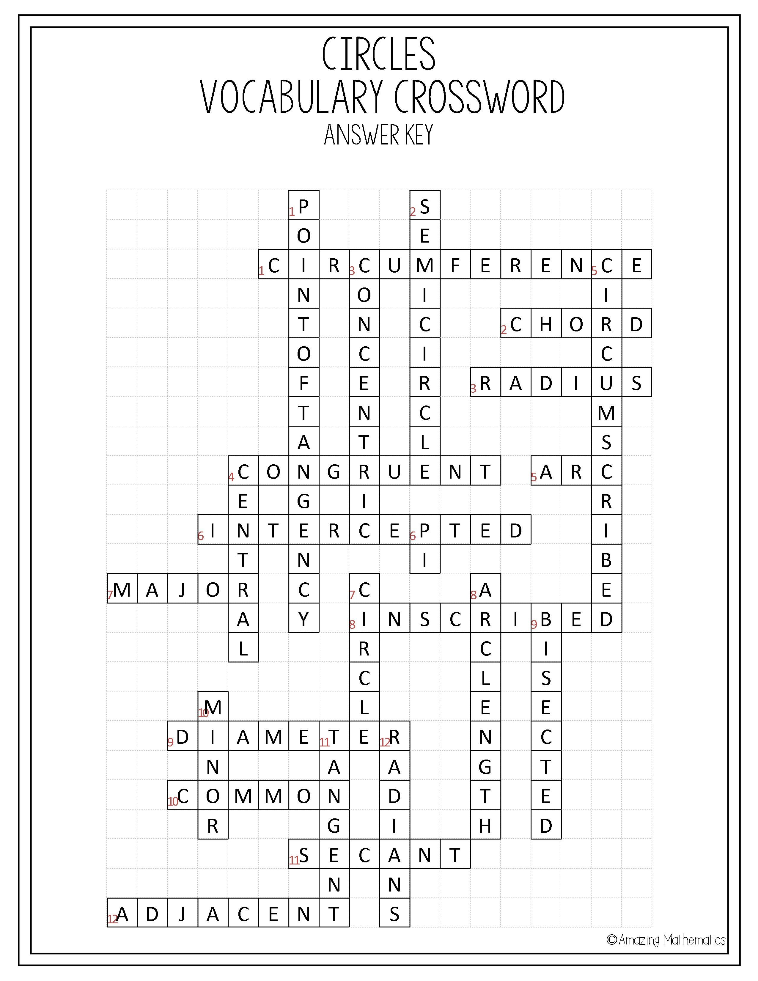 Circles Vocabulary Crossword | My Tpt Items | Geometry Worksheets - Printable Geometry Puzzles High School
