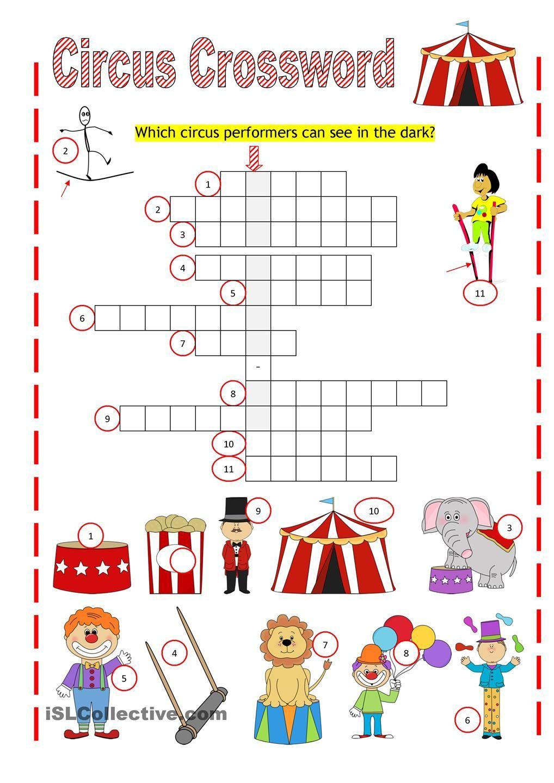 Circus Crossword | Work Sheets | Big Top Circus, Crossword, Worksheets - Circus Crossword Puzzle Printables