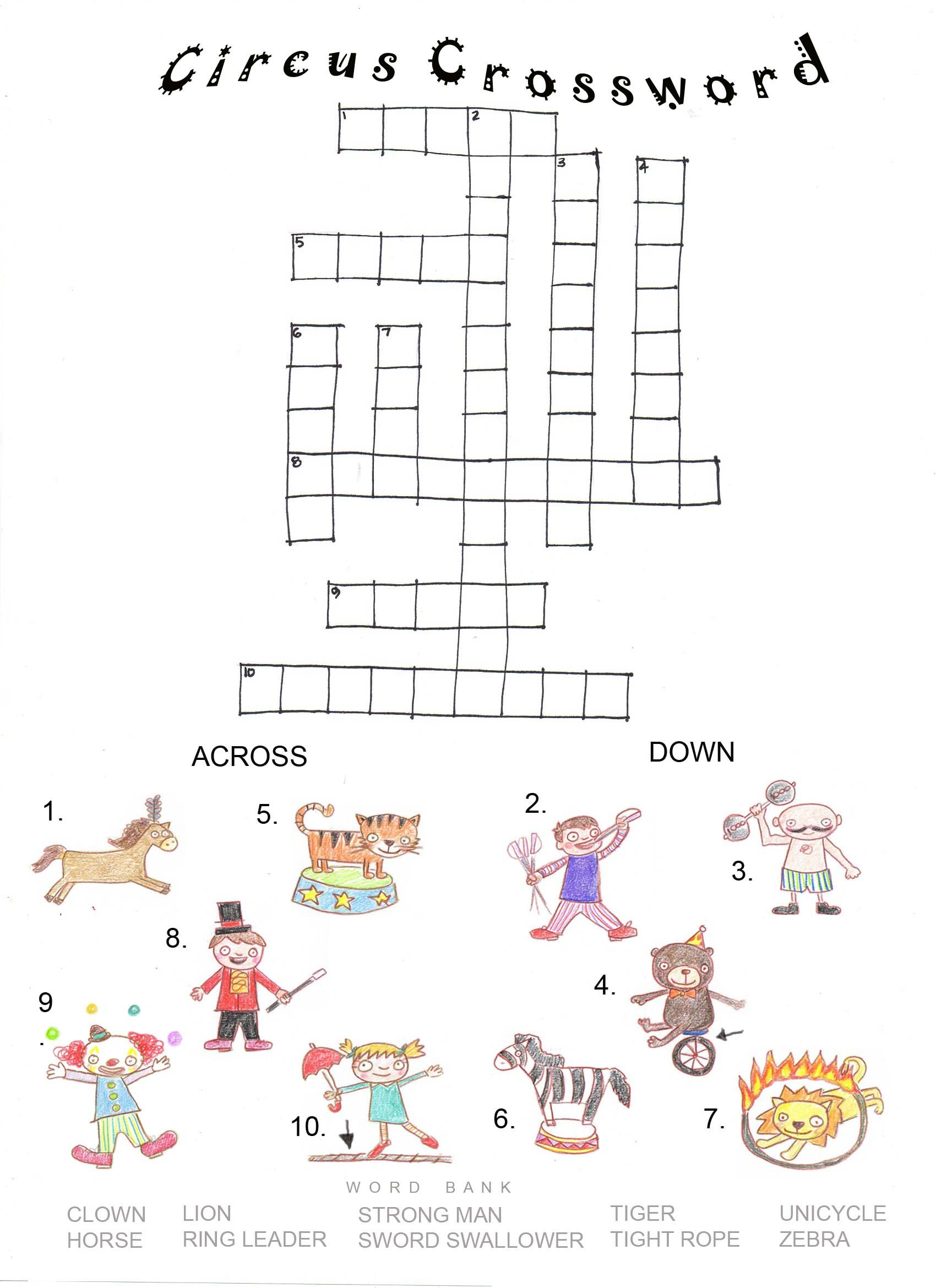 Circus Worksheets - Pesquisa Google | Psych Activities | Circus - Circus Crossword Puzzle Printables