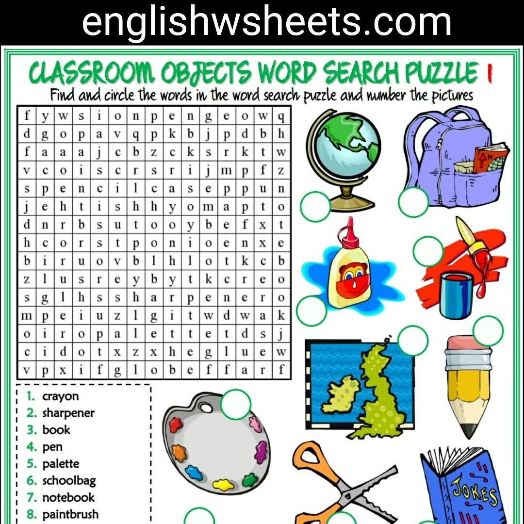 Classroom Objects Esl Printable Word Search Puzzle Worksheets For - Printable Lexicon Puzzles