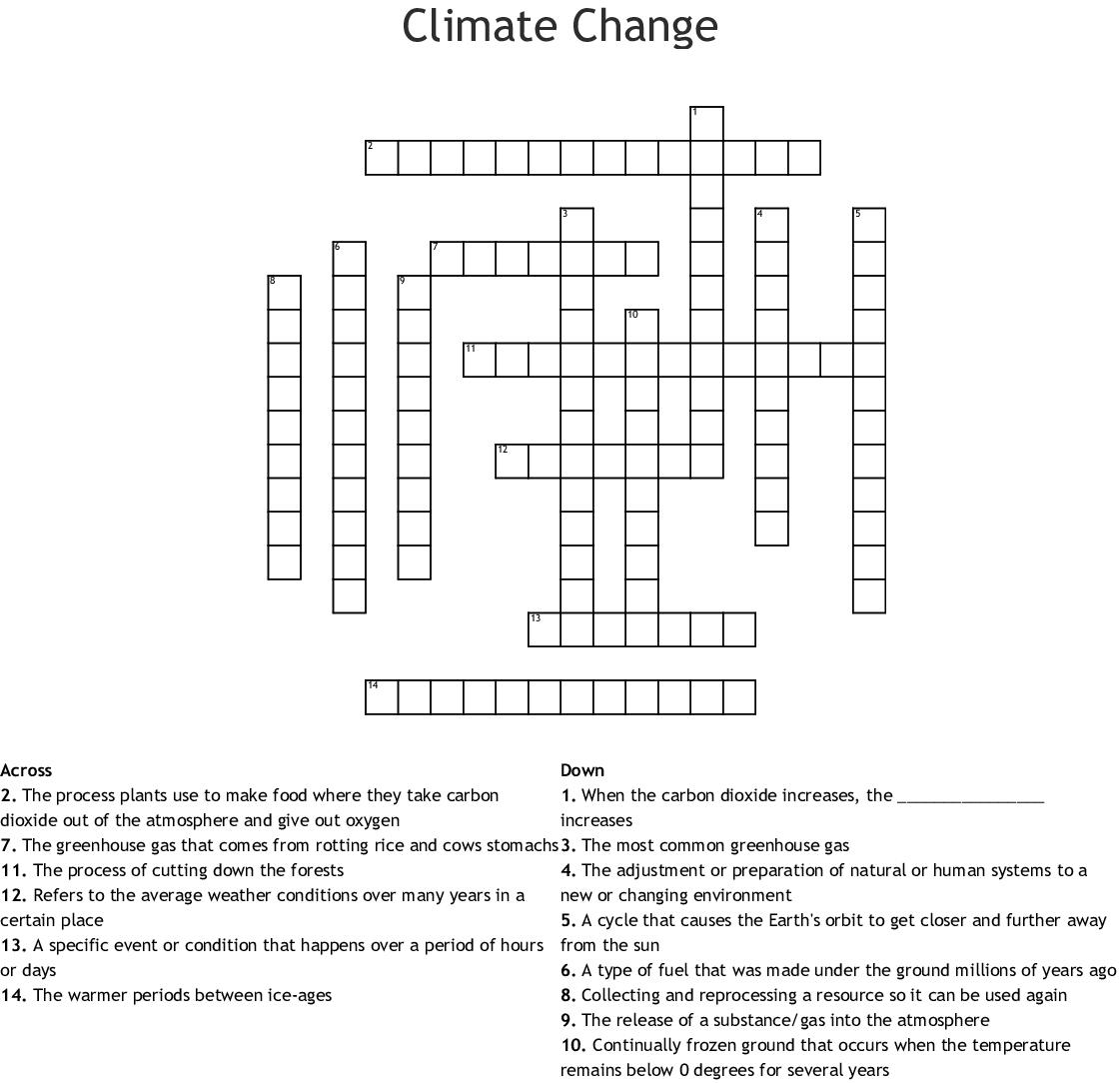 Climate Change Crossword - Wordmint - Printable Weather Crossword Puzzle