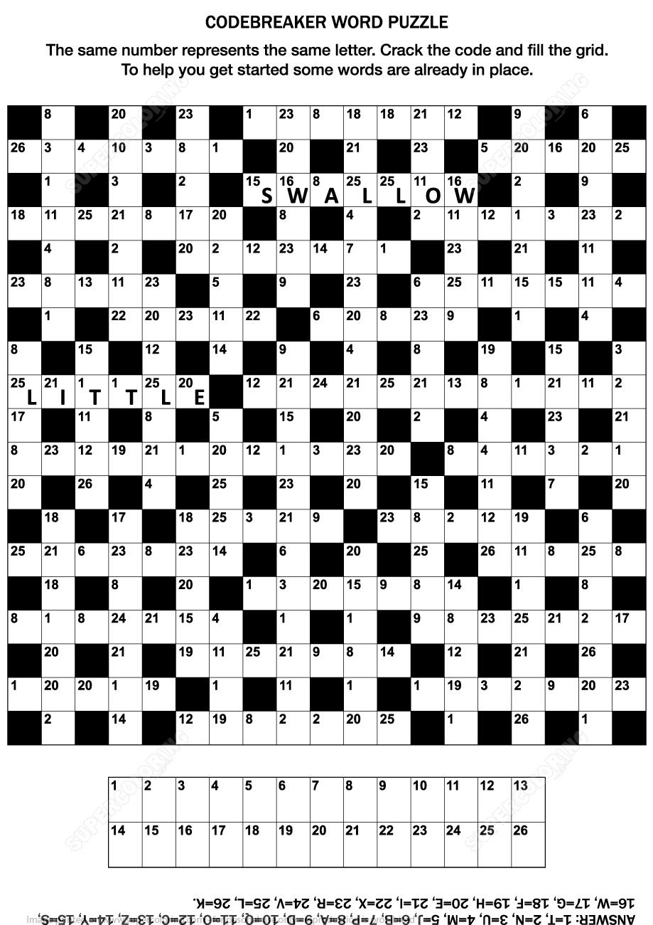 Codebreaker Word Puzzle | Free Printable Puzzle Games - Printable Codeword Puzzles