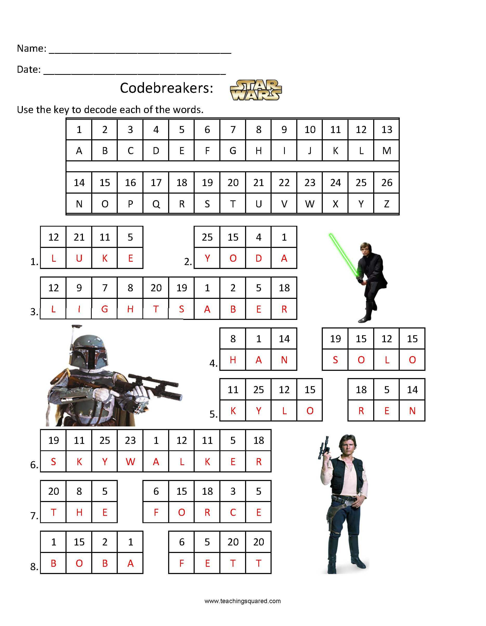 Codebreakers- Star Wars 1 - Teaching Squared - Star Wars Crossword Puzzle Printable