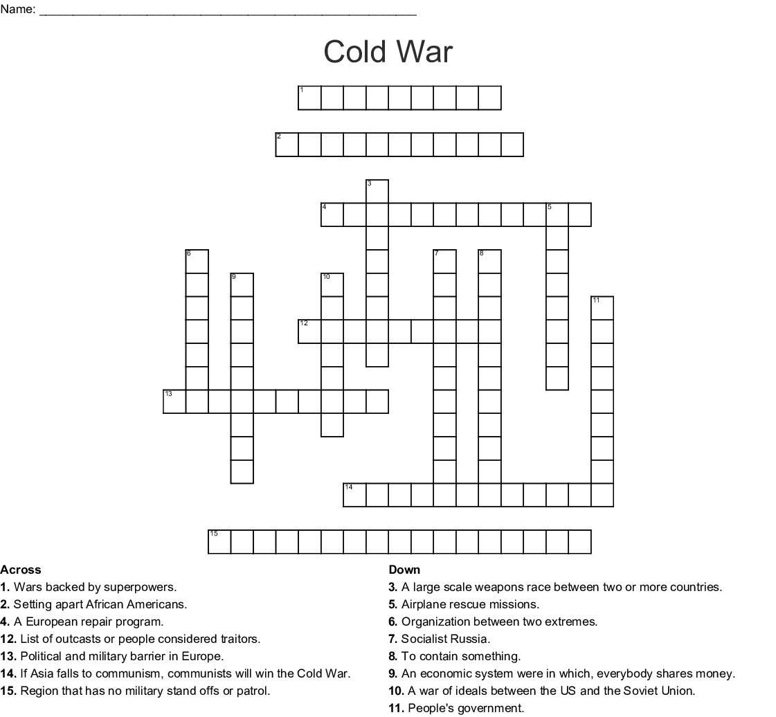 Cold War Crossword - Wordmint - 1950S Crossword Puzzle Printable
