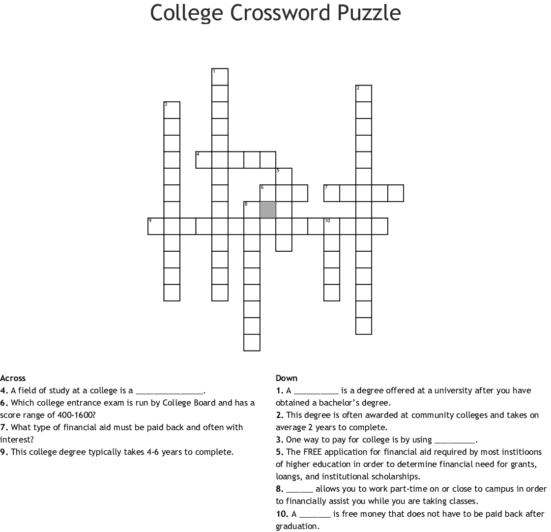 College Crossword Puzzle Crossword - Wordmint - Printable Crossword Puzzles For College Students