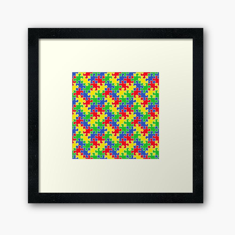 """Colorful Puzzle Pieces Autism Awareness April"""" Framed Art Print - Printable Puzzle Piece Autism"""