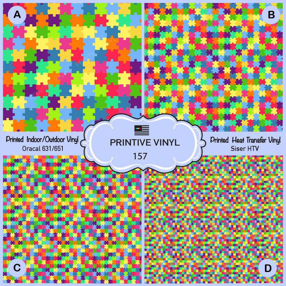 Colorful Puzzles Pattern Printed Htv,adhesive Vinyl-157   Ebay - Puzzle Print Htv