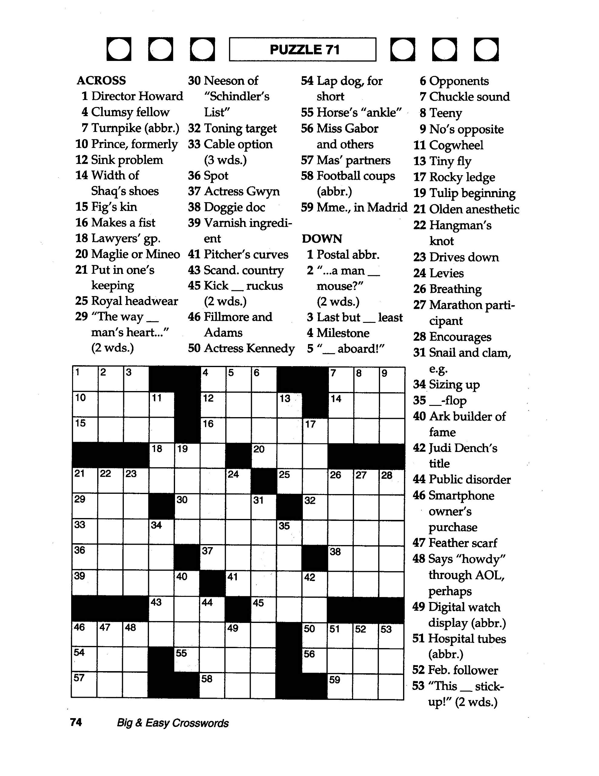 Coloring ~ Large Print Crosswords Coloring Dailythomas Joseph - Printable Joseph Crossword