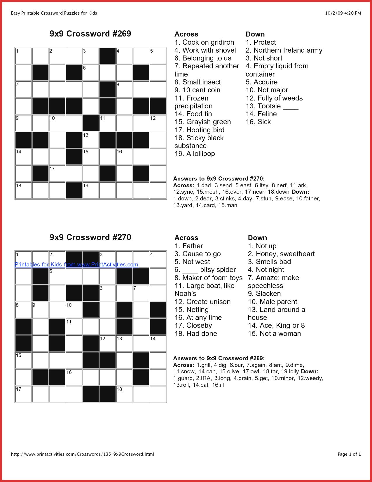 Coloring ~ Marvelous Large Print Crosswords Photo Ideas Free - Printable Beginner Crossword Puzzles