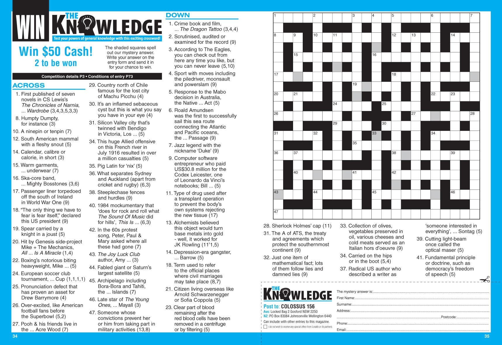 Colossus Crosswords Magazine - Lovatts Crossword Puzzles Games & Trivia - Printable Crossword Nz