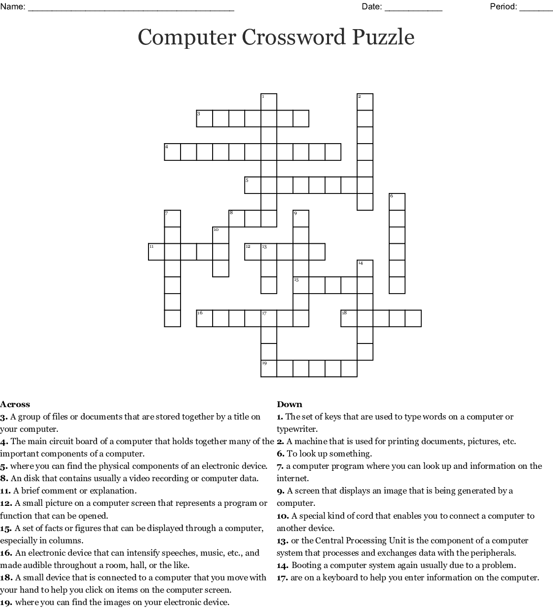 Computer Crossword Puzzle Crossword - Wordmint - Computer Crossword Puzzles Printable