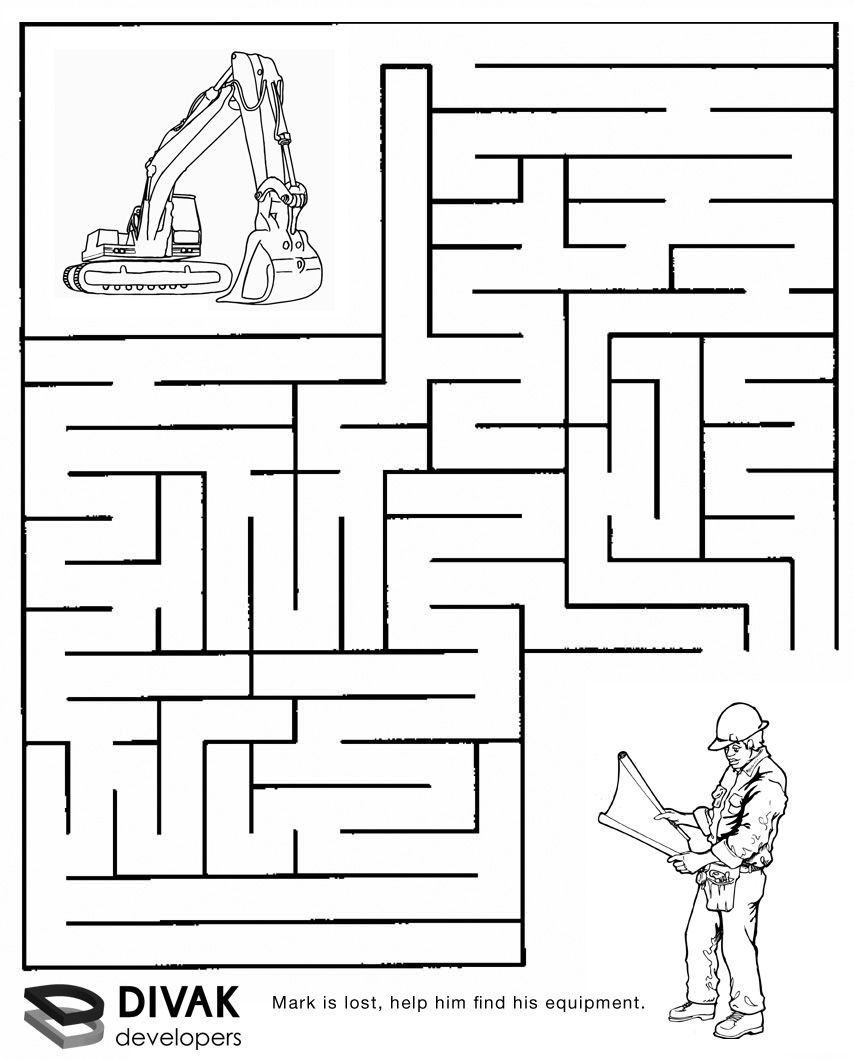 Construction Maze | Summer Camp Construction | Mazes For Kids - Printable Puzzle Mazes