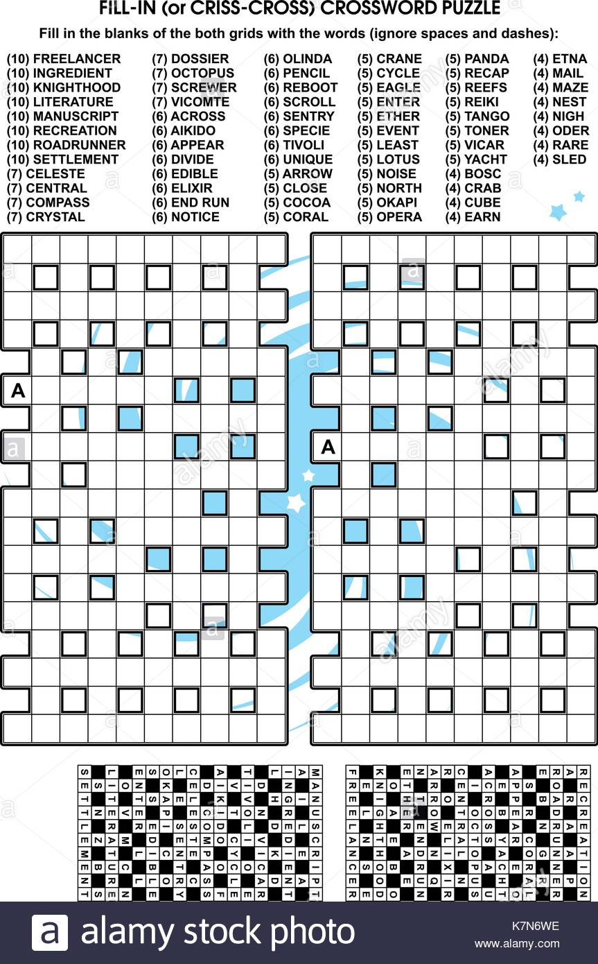 Criss-Cross Word Puzzle - Fill In The Blanks Of The Crossword Puzzle - Blank Crossword Puzzle Grids Printable