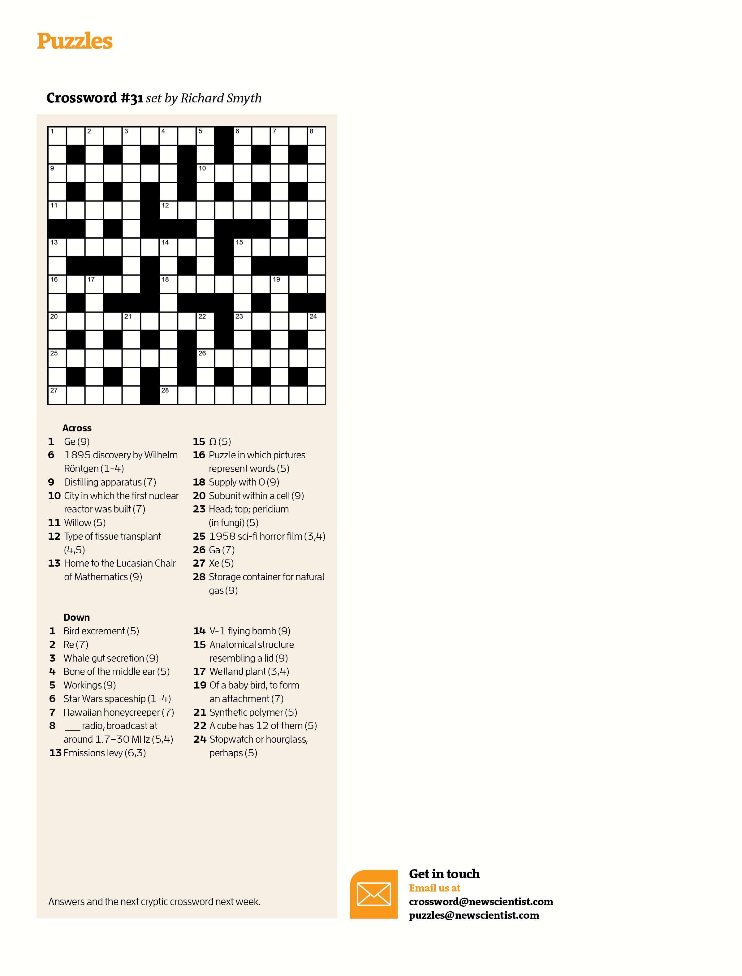 Crossword #31   New Scientist - Daily Quick Crossword Printable Version
