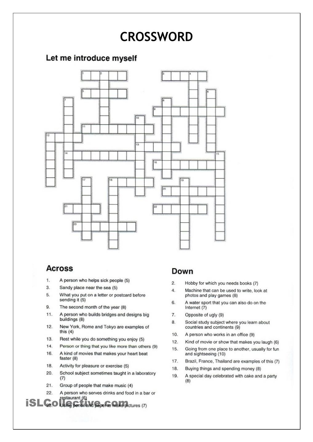 Crossword - Let Me Introduce Myself | Crosswords | Crossword - Crossword Puzzles Vocabulary Printable