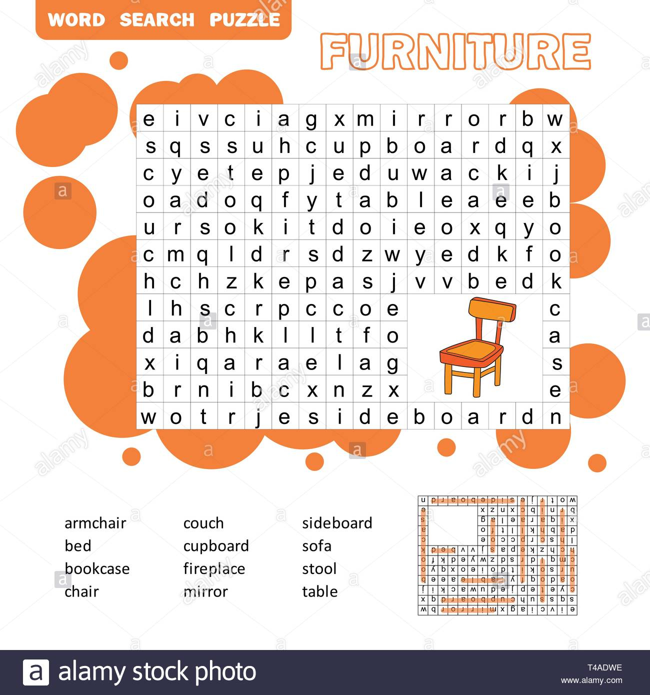 Crossword - Living Room Furniture - Learning English Words. Word - Printable Crossword Puzzles For Learning English